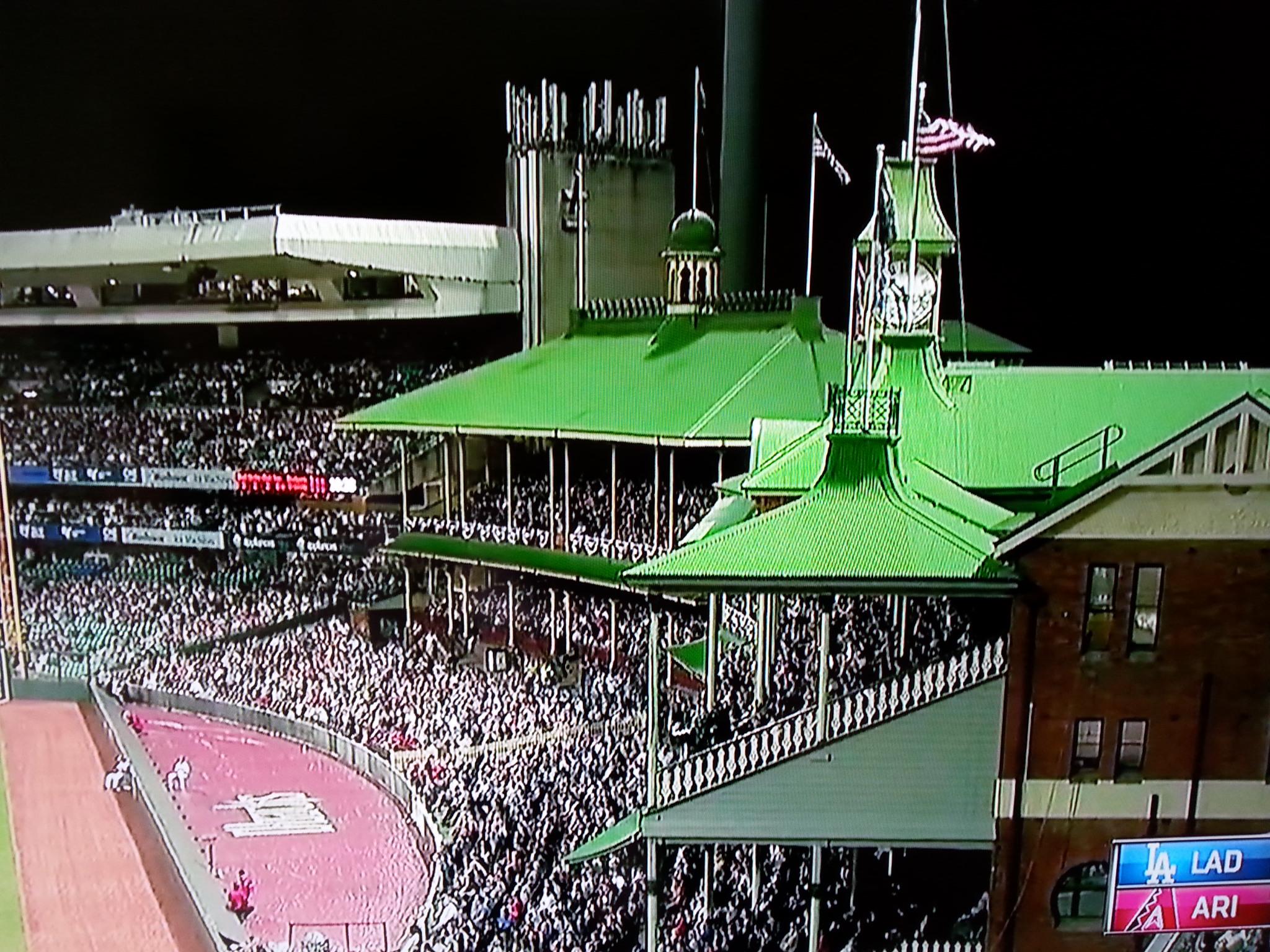 Tribünen im Outfield des Sydney Cricket Ground